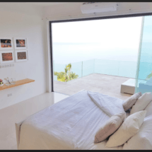 Bedroom 1 (master). All 3 front bedrooms are the same size & offer sea views & a balcony.